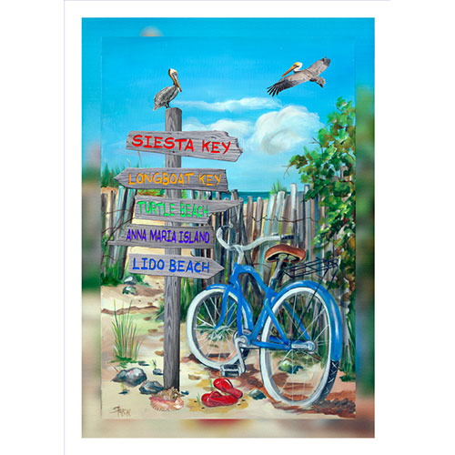 Blue Bike Beach Signs 20 x 30 Canvas Sarasota