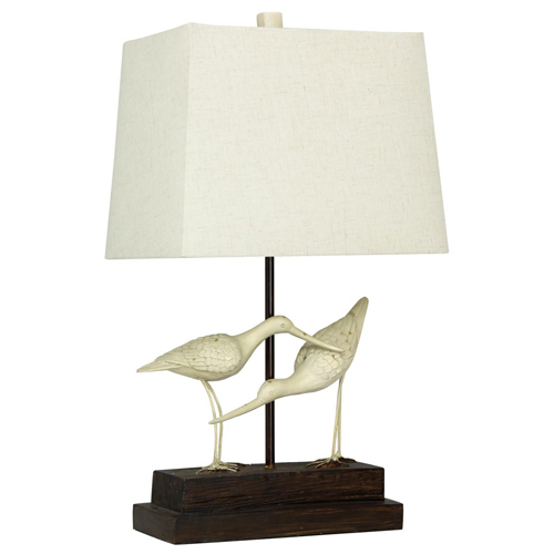 StyleCraft Sandpipers on Sand Table Lamp Rect Shade