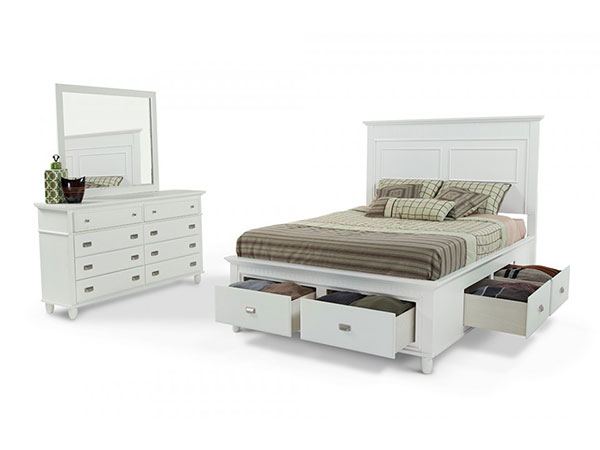 Elements Spencer White Complete King Storage Bed with Dresser and Mirror