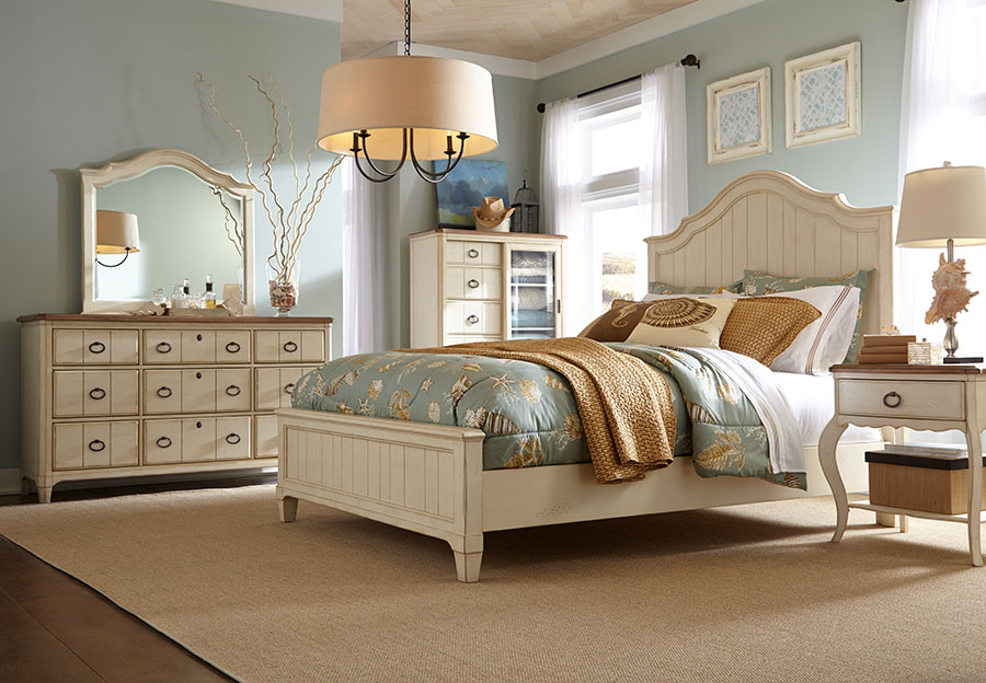 Panama Jack Millbrook 5pc Queen Bedroom Set (Headboard, Footboard, Rails, Dresser, and Mirror)