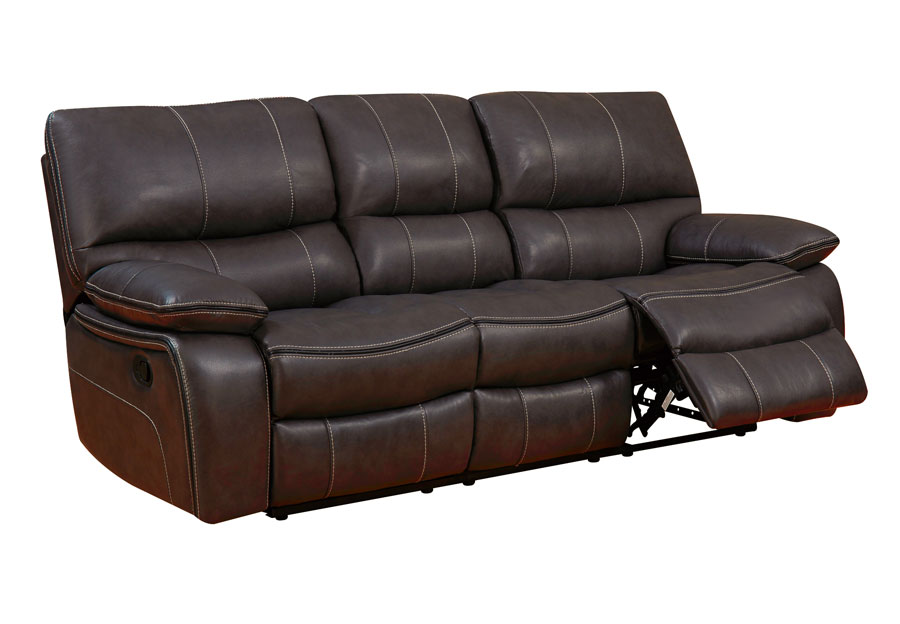 Global Agnes Espresso Reclining Sofa in Leather Gel