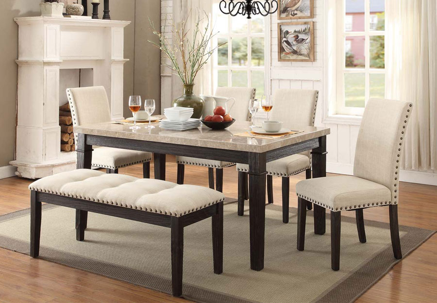 Elements Greystone Dining Table with Two Side Chairs and Bench