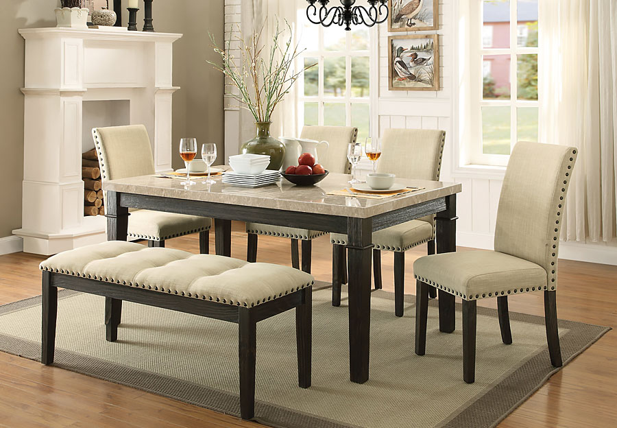 Elements Greystone Dining Table Bench And Two Side Chairs