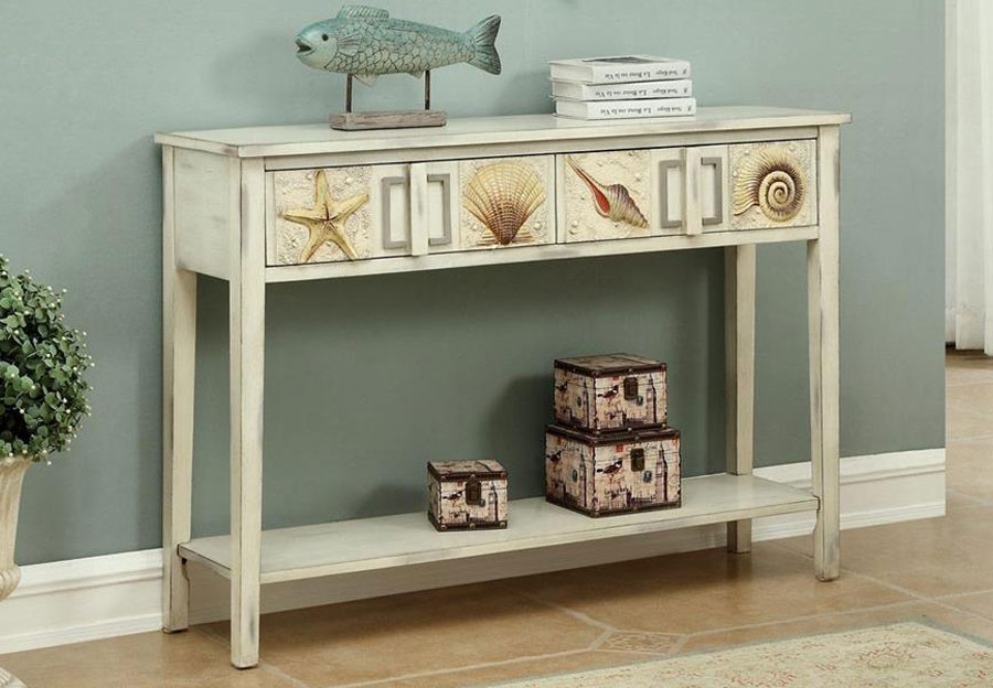 Coast to Coast Two Drawer Console Table With Sea Shells