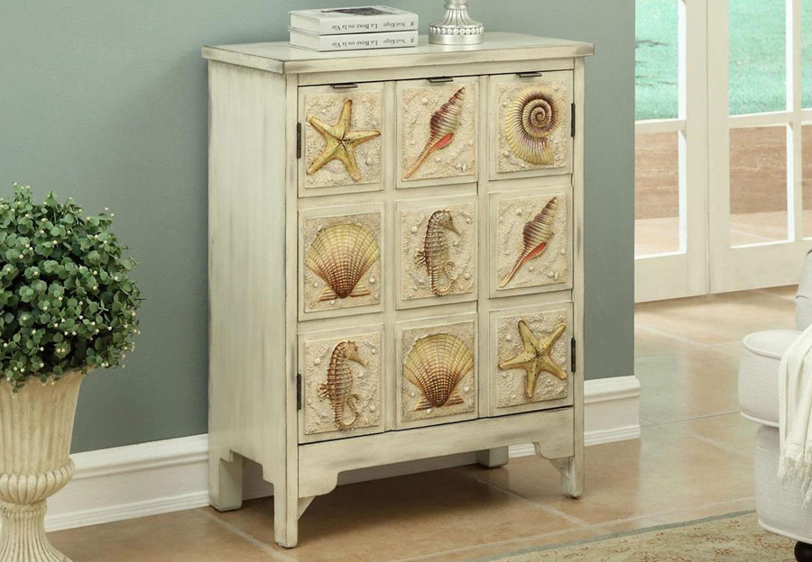 Coast to Coast Two Door Cabinet With Sea Shells