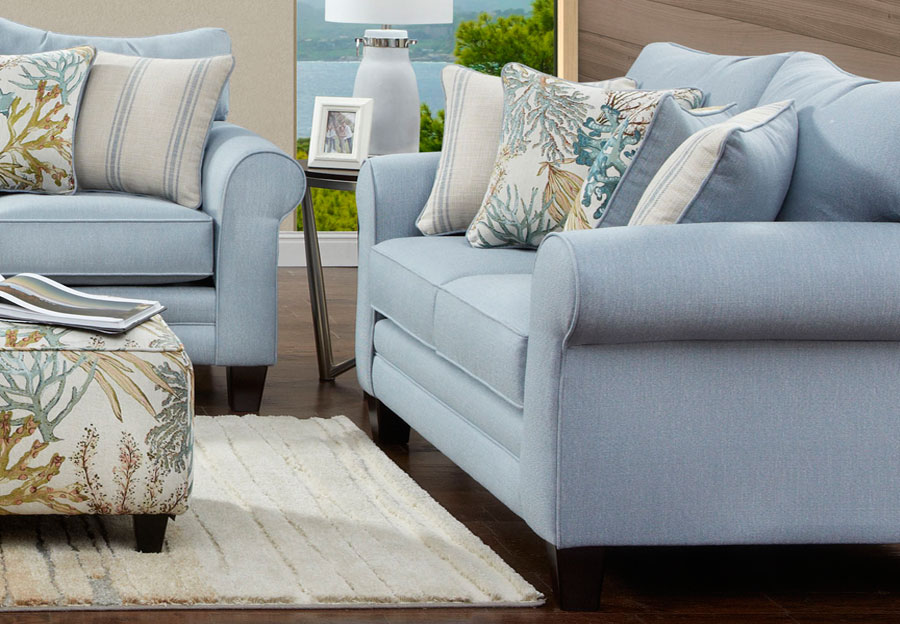 Fusion Labyrinth Sky Loveseat with Coral Reef Caribbean and Wakefield Chambry Accent Pillows