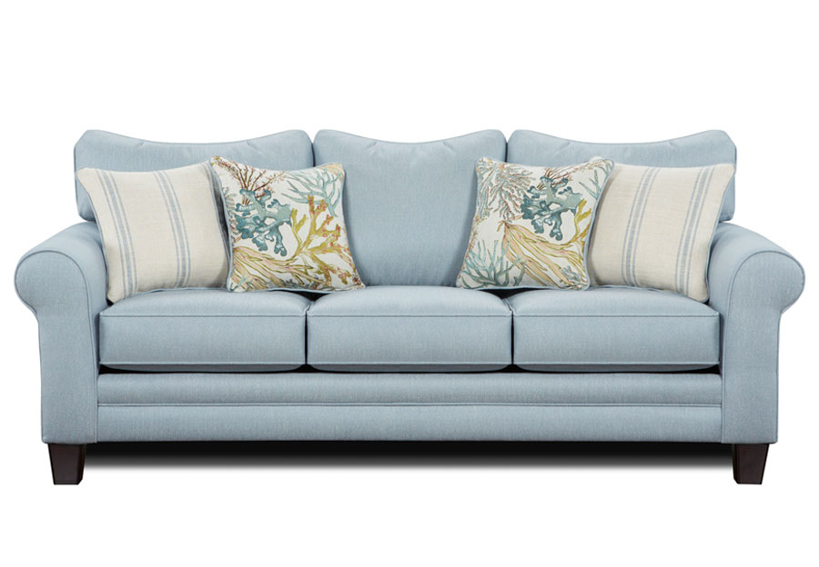 Fusion Labyrinth Sky Queen Sleeper Sofa with Coral Reef Caribbean and Wakefield Chambry Accent Pillows