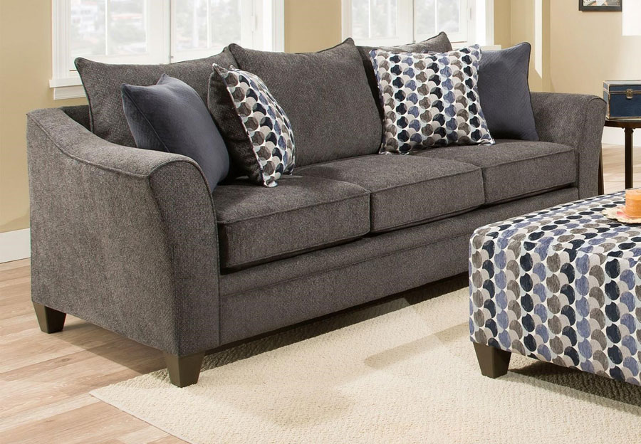 Lane Albany Slate Sofa with Bubbles Ink and Jada Navy Accent Pillows
