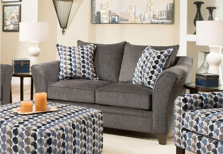 Lane Albany Slate Loveseat with Bubbles Ink Accent Pillows