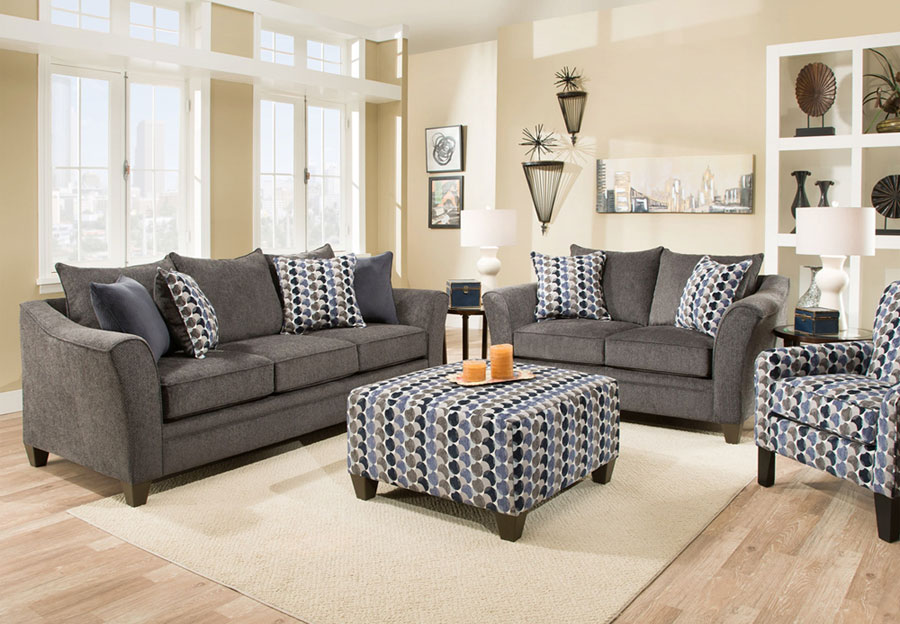 Lane Albany Slate Queen Sleeper Sofa and Loveseat with Bubbles Ink and Jada Navy Accent Pillows