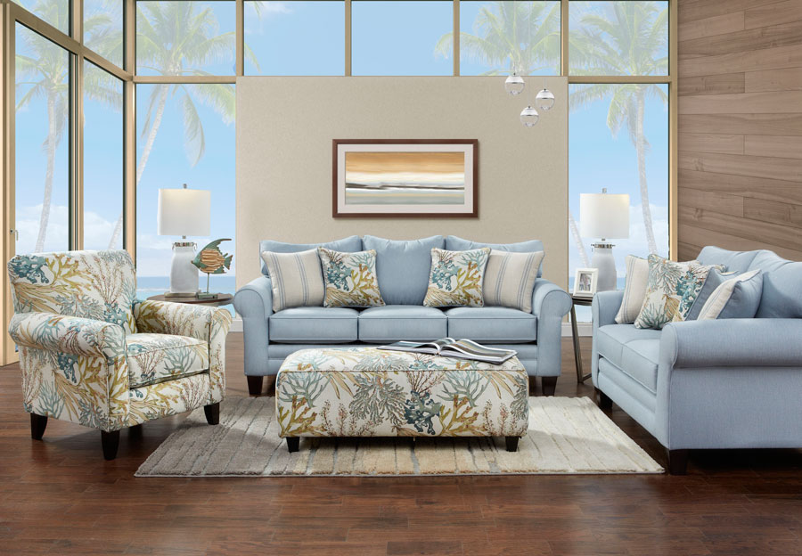Fusion Labyrinth Sky Sofa and Loveseat with Coral Reef Caribbean and Wakefield Chambry Accent Pillows
