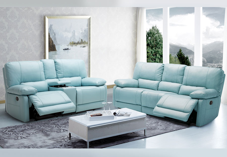 Kuka Maui Light Blue Reclining Sofa and Reclining Console Loveseat Leather Match