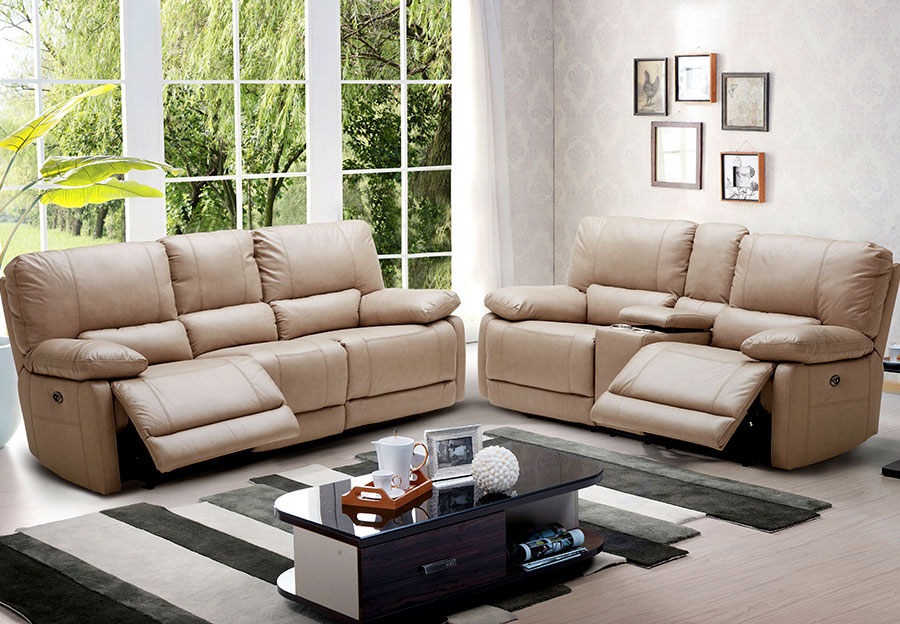 Kuka Maui Sand Power Reclining Sofa and Reclining Console Loveseat Leather Match