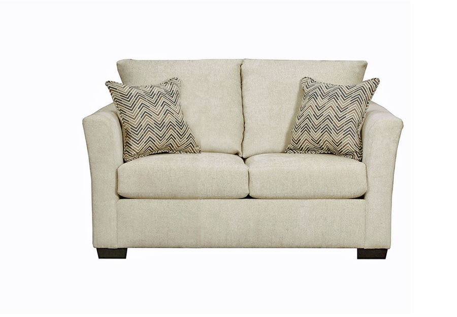 Lane Elan Linen Loveseat with Webster Olive Accent Pillows