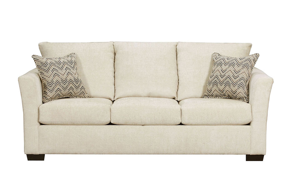 Lane Elan Linen Queen Sleeper Sofa with Webster Olive Accent Pillows
