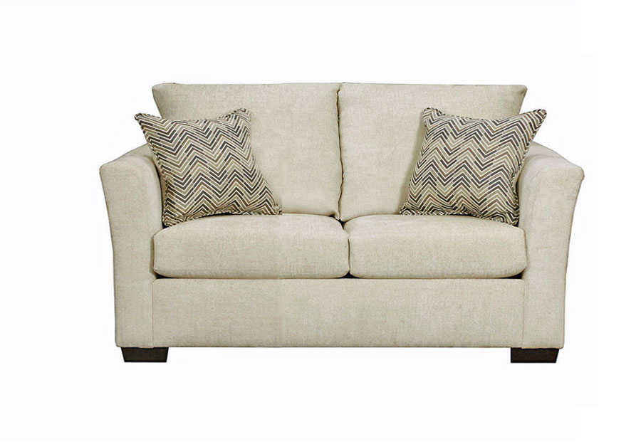 Lane Elan Linen Full Sleeper Loveseat with Webster Olive Accent Pillows