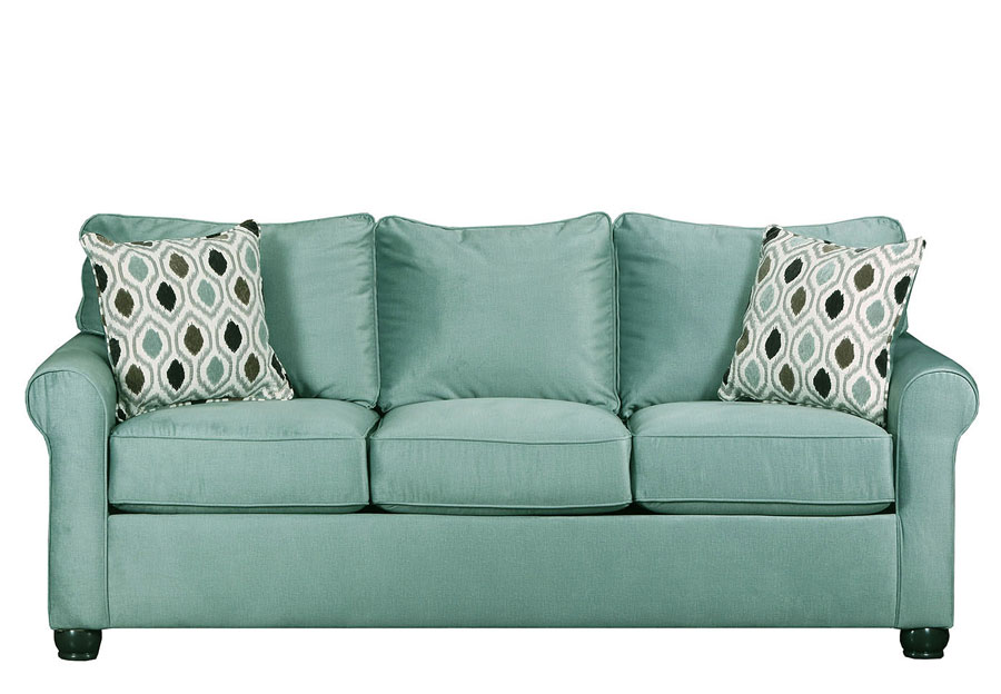 Lane Jojo Spa Sofa with Preston Mocha Accent Pillows