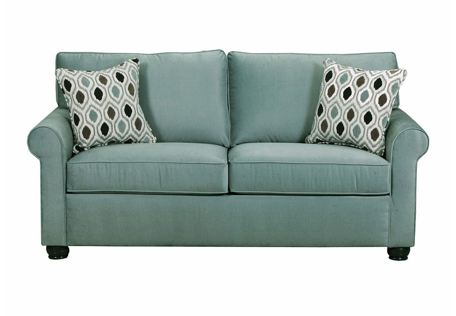 Lane Jojo Spa Loveseat with Preston Mocha Accent Pillows