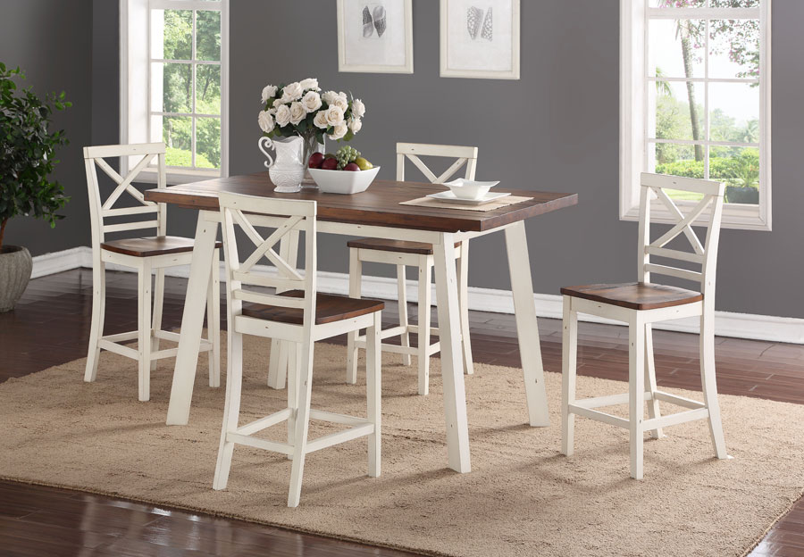 Standard Amelia Counter Height Dining Table and Four Counter Chairs