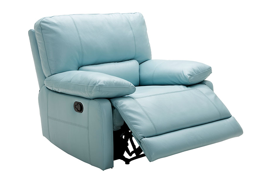 Kuka Maui Light Blue Power Recliner Leather Match