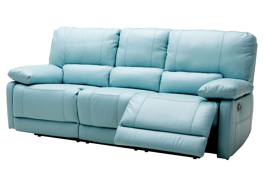 Kuka Maui Light Blue Power Reclining Sofa Leather Match