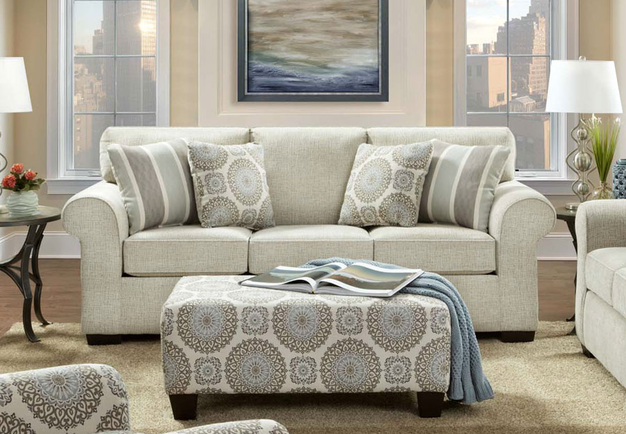 Affordable Furniture Charisma Linen Sofa with Brionne Twilight Accent Pillows