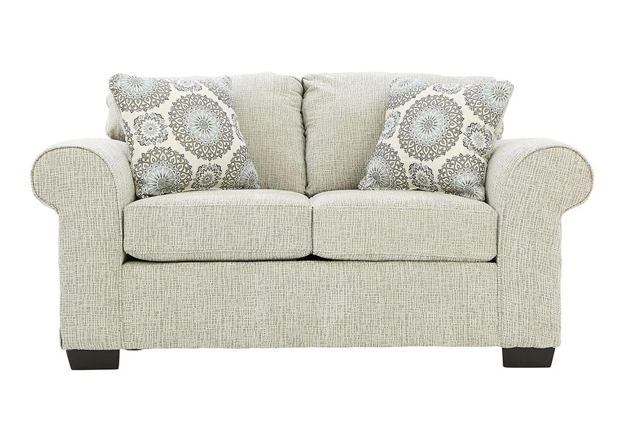 Affordable Furniture Charisma Linen Loveseat with Brionne Twilight Accent Pillows