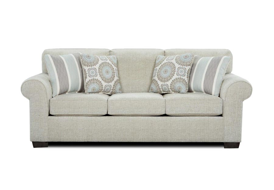 Affordable Furniture Charisma Linen Queen Sleeper Sofa with Brionne Twilight Accent Pillows