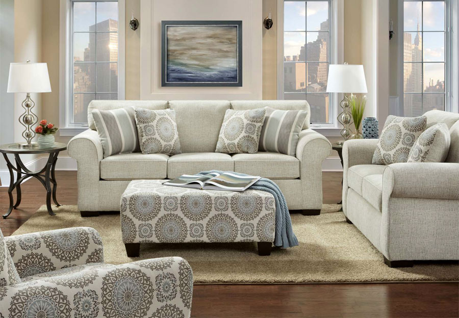 Affordable Furniture Charisma Linen Queen Sleeper Sofa and Loveseat with Brionne Twilight Accent Pillows