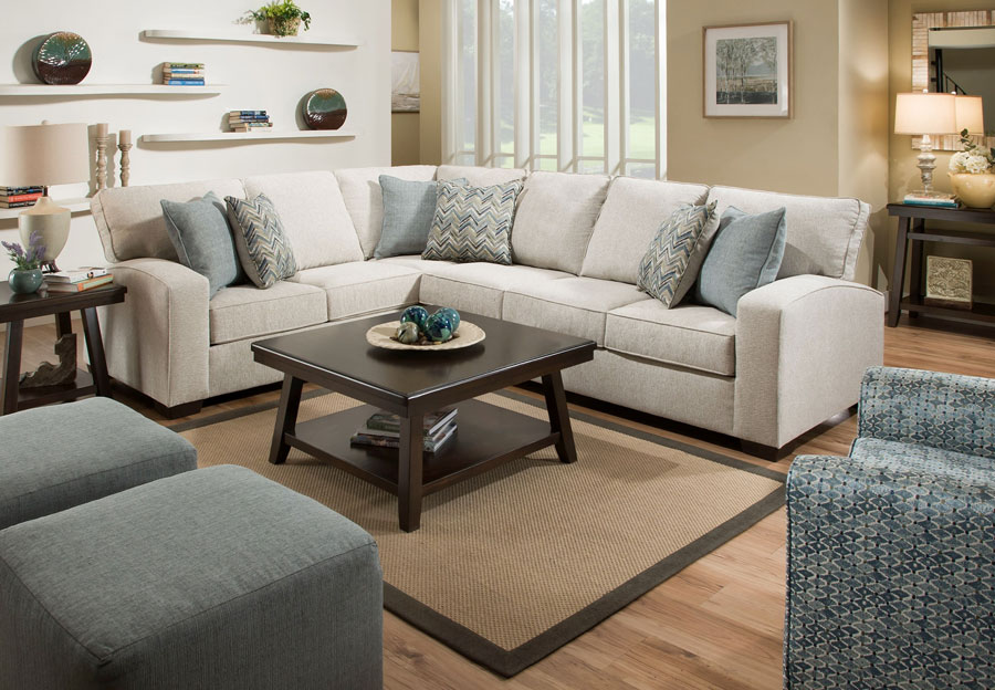 Simmons Endurance Grain Sectional With Challenge Seaglass and Montero Spa Accent Pillows
