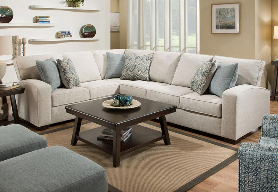 Lane Endurance Grain Sectional with Challenge Seaglass and Montero Spa Accent Pillows