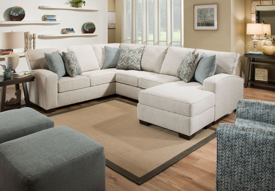 Simmons Endurance Grain Chaise Sectional With Challenge Seaglass and Montero Spa Accent Pillows