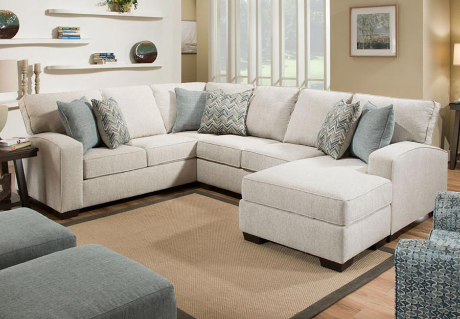 Lane Endurance Grain Chaise Sectional with Challenge Seaglass and Montero Spa Accent Pillows