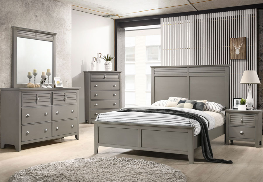 Lifestyles Shutter Grey Queen Headboard, Footboard, Rails, Dresser, Mirror
