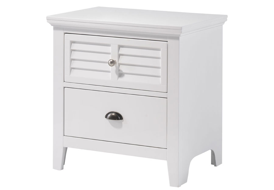 Lifestyle Shutter White Two-Drawer Nightstand
