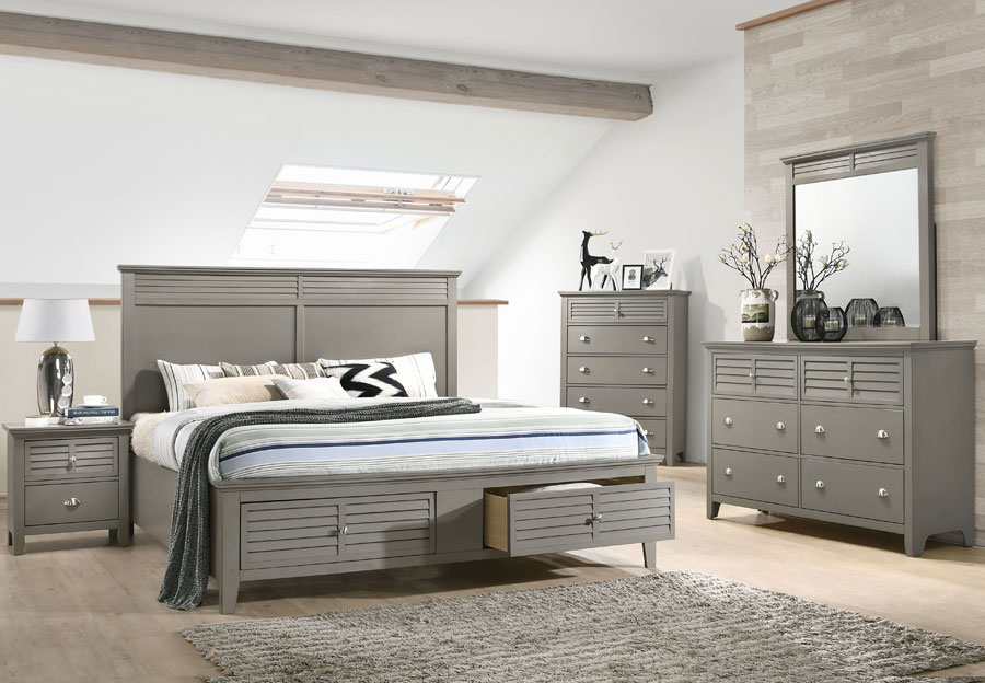 Lifestyles Shutter Grey Queen Headboard, Storage Footboard, Rails, Dresser, and Mirror