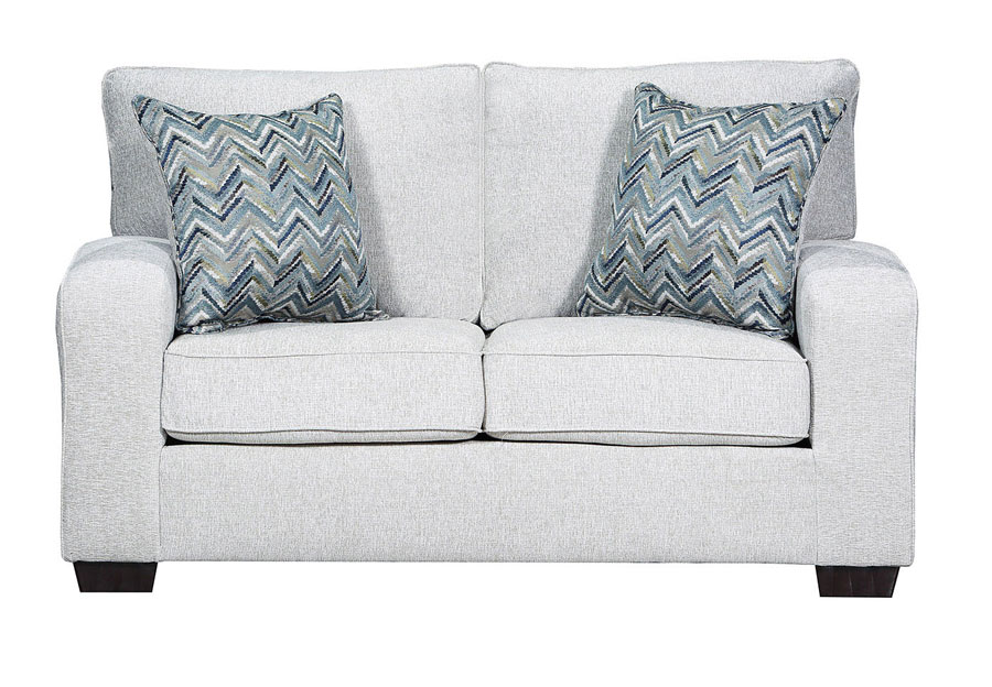 Lane Endurance Grain Loveseat with Challenge Seaglass Accent Pillows
