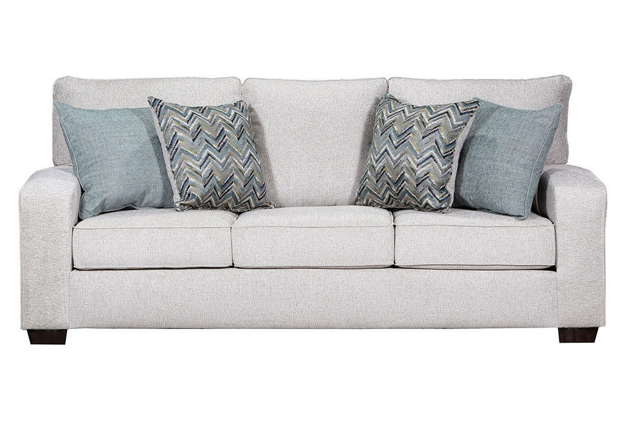 Lane Endurance Grain Queen Sleeper Sofa with Challenge Seaglass and Montero Spa Accent Pillows