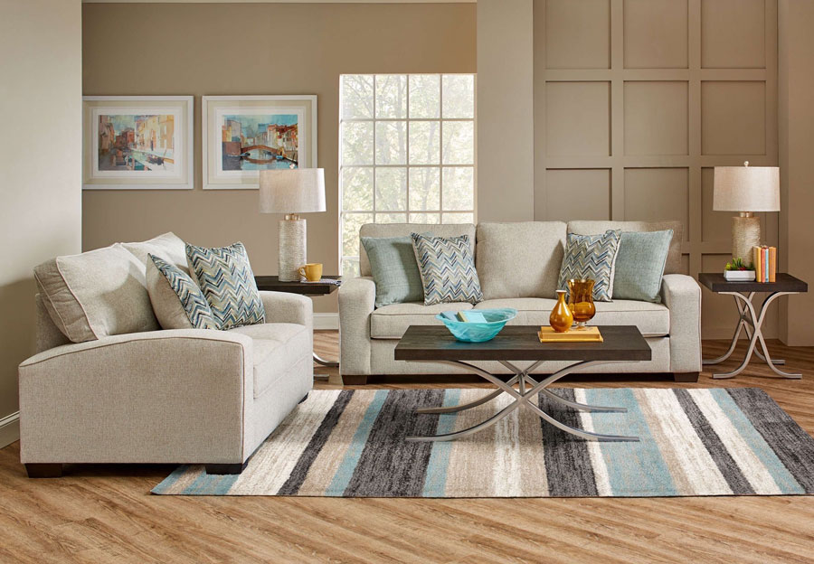 Lane Endurance Grain Sofa and Loveseat with Challenge Seaglass and Montero Spa Accent Pillows