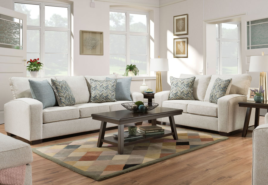 Lane Endurance Grain Queen Sleeper Sofa and Loveseat with Challenge Seaglass and Montero Spa Accent Pillows
