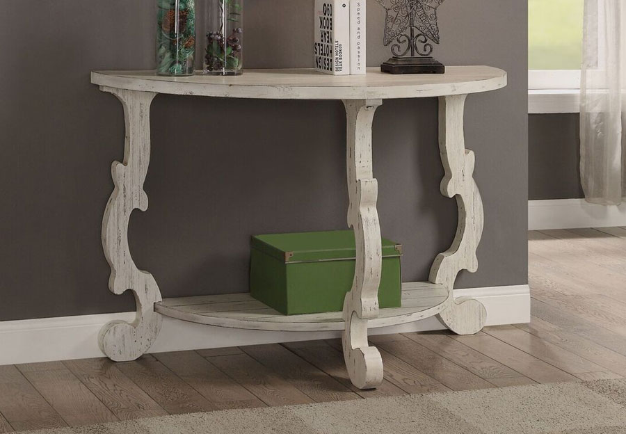 Coast To Coast Orchard White Rub Demilune Console Table