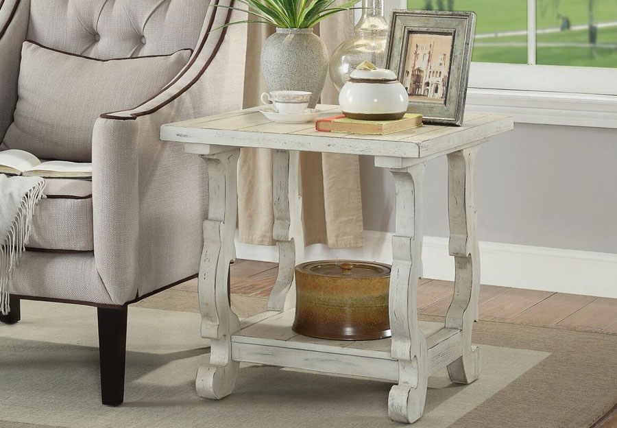 Coast To Coast Orchard White Rub End Table