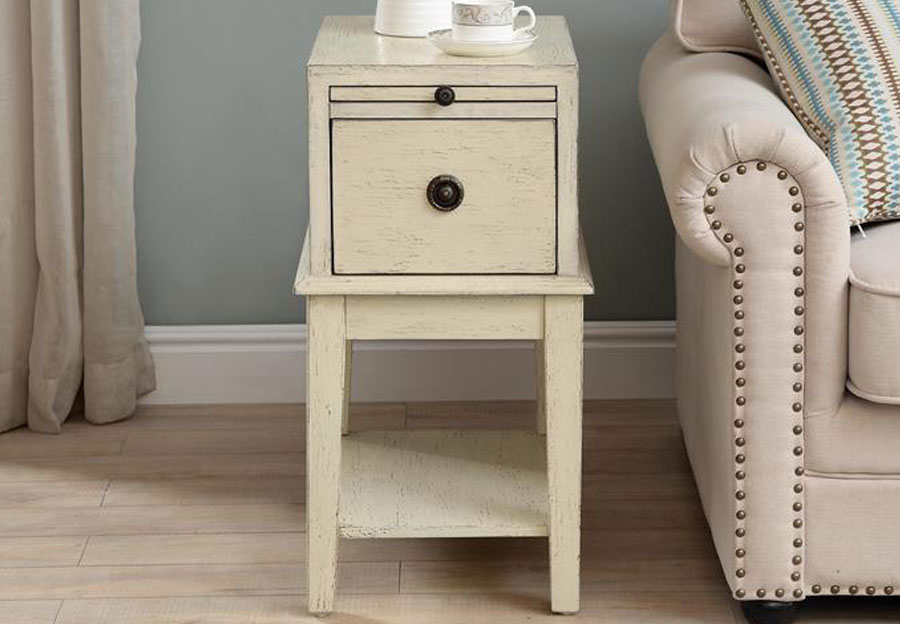 Coast To Coast Cream One Drawer Accent Table