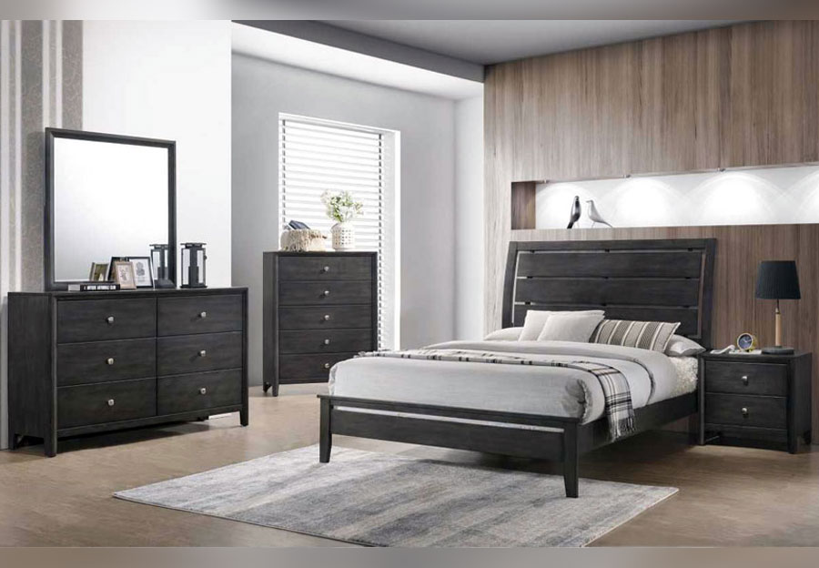 Lane Grant Grey King Headboard, Footboard and Rails, Dresser, and Mirror