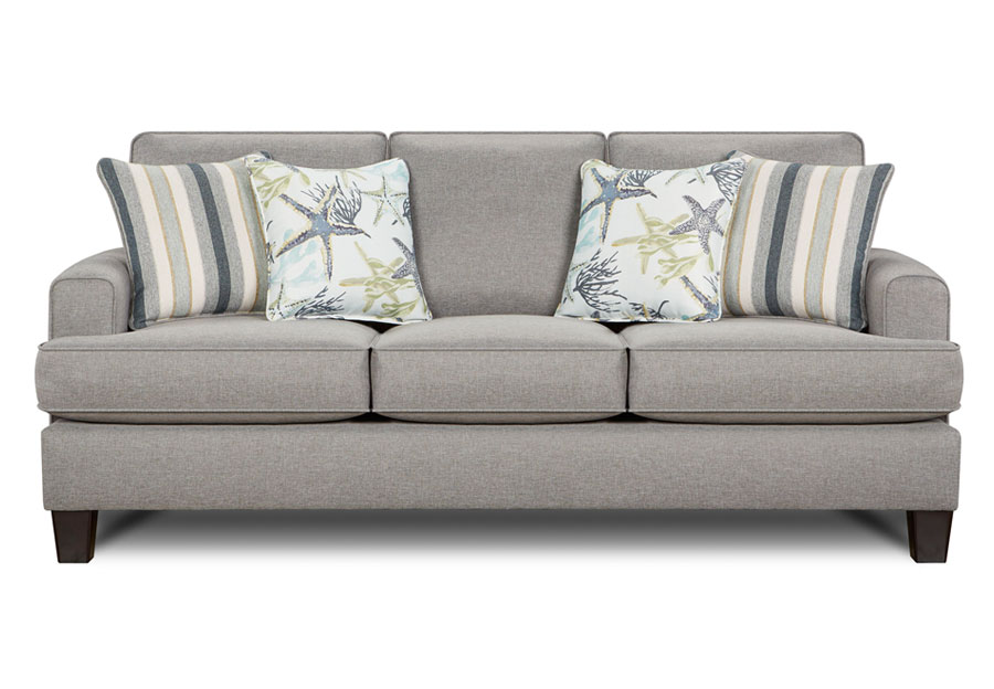 Fusion Jitterbug Flax Sofa with Savannah Ocean and Reinvented Nautica Accent Pillows