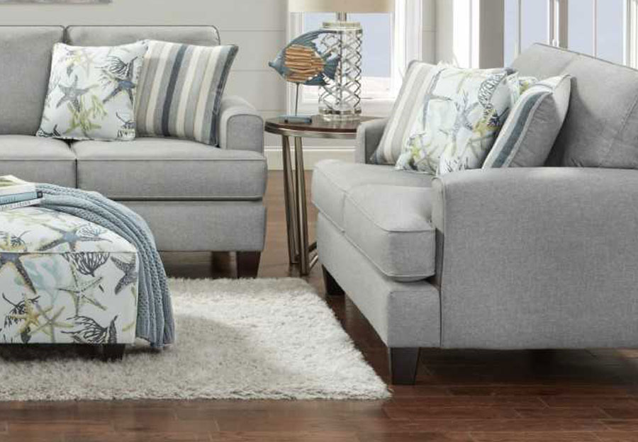 Fusion Jitterbug Flax Loveseat With Savanah Ocean And Reinvented Nautica Accent Pillows