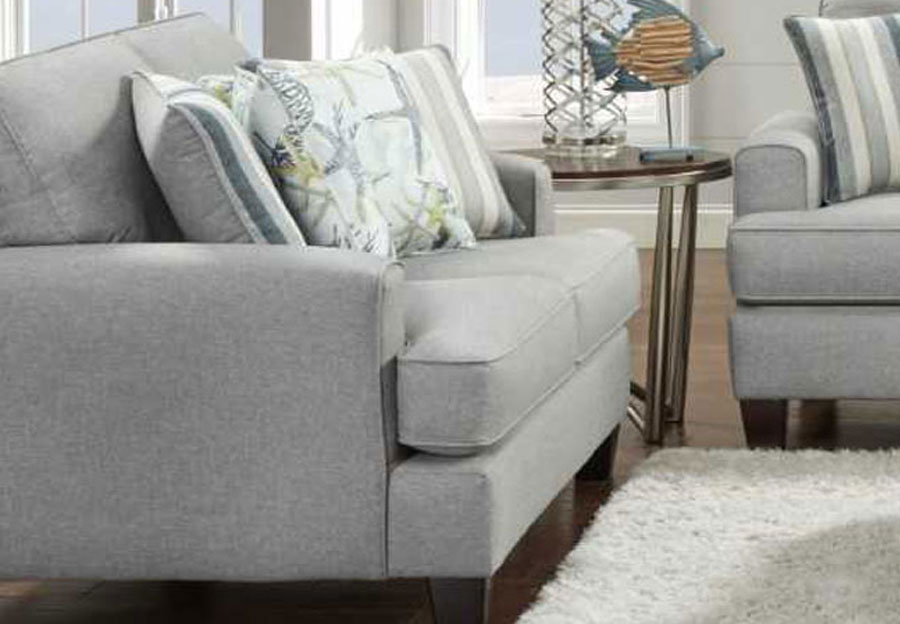 Fusion Jitterbug Flax Loveseat with Savannah Ocean Accent Pillows