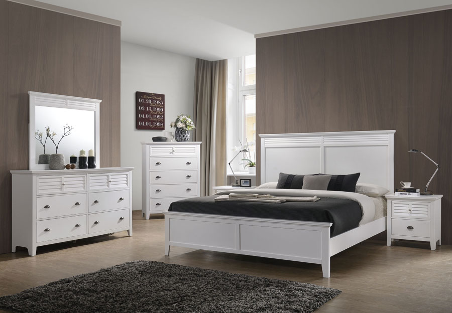 Lifestyle Shutter White Queen Bed, Dresser, and Mirror