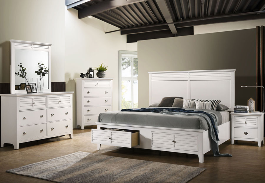 Lifestyle Shutter White Queen Storage Bed, Dresser, and Mirror