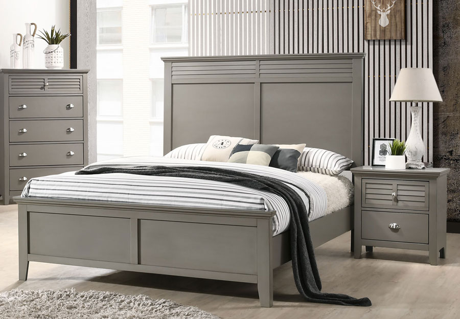 Lifestyles Shutter Grey Queen Headboard, Footboard and Rails
